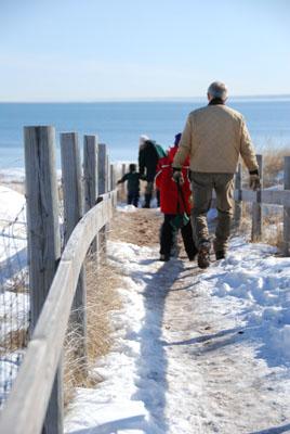 wintry boardwalk to beach
