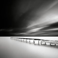 Radiating (Maria Stromvik) Tags: longexposure sea cloud seascape ice beach water pier is skne sweden jetty balticsea stersjn winterscape falsterbo brygga ndfilter nset bwnd110