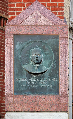 Saint John Nepomuk Roman Catholic Church, in Saint Louis, Missouri, USA - plaque in honor of Father Wenceslaus Linek