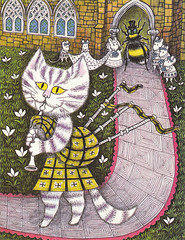 1960's Nursery Rhyme Book Illustration - Cat With Bagpipes (vintagegoodness) Tags: art illustration cat vintage book 60s illustrated retro clipart childrens 1960s bagpipes nurseryrhyme vintagegoodness