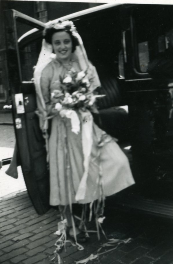 Bride Margaret Law leaving work 1947