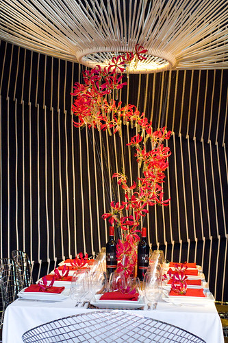 red orchids table