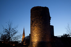 Trim Castle 5941 (Mark Rigler -) Tags: old blue ireland sky castle church night evening low lo eire mel trim gibson braveheart boyne meath