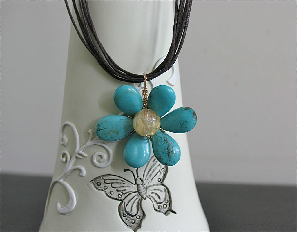 Big flower Turquoise pendant and Rutiliated Quartz on Leather necklace
