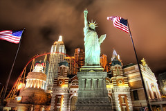 New York New York in Las Vegas (Werner Kunz) Tags: world city nyc longexposure urban usa ny newyork gambling money night america photoshop lights town us nikon traffic cloudy lasvegas manhattan wideangle center casino lucky stadt 40 fav 20 bigapple hdr metrop