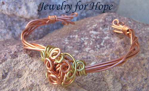 Copper and Gold Wire Wrapped Bangle Bracelet - Lets Do the Twist