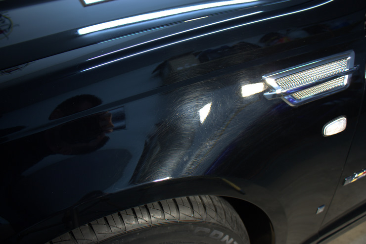 2008 Cadillac STS-V swirls and holograms