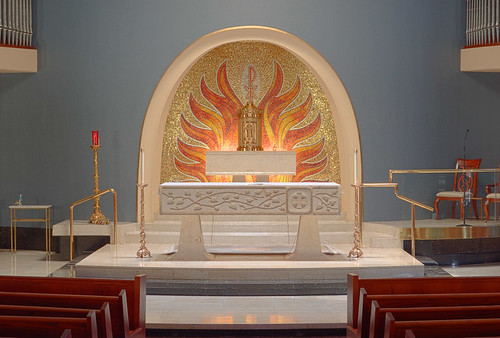 Immacolata Roman Catholic Church, in Richmond Heights, Missouri, USA - sanctuary featuring mosaic of the Holy Spirit by the Ravenna Mosaic Company
