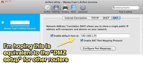 AirPort Utility - DMZ Setup