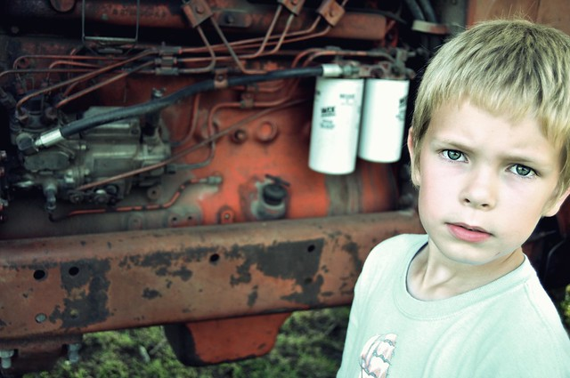 serious by the tractor
