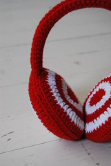 'Red Ready' earwarmer by HandMaid Liset (Studio SOIL) Tags: winter red white design handmade crochet craft cotton own haken croch earwarmers hakeln