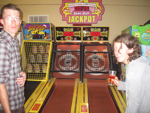Sara and Anders letting loose on skee ball post-ride