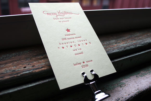 Custom Letterpress Holiday Card / Moving Announcement by Smock