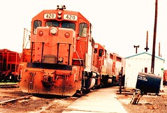 Former Detroit, Toledo & Ironton Railroad EMD roadswitchers at the former GTW Elsdon Yard site. Chicago Illinois. June 1984.