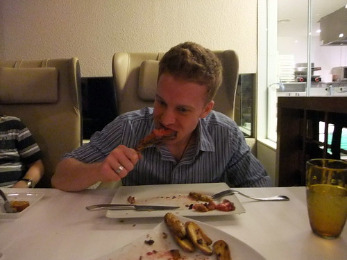 Mike devouring the Wagyu Prime Rib