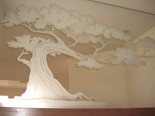 decorative mirror etched hand carved bonsai tree glass wall art - a ...