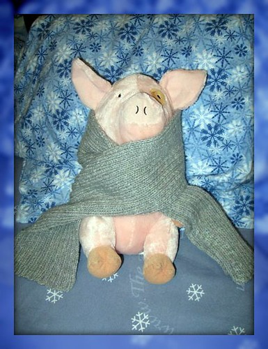 Piggy modeling little guy's new scarf