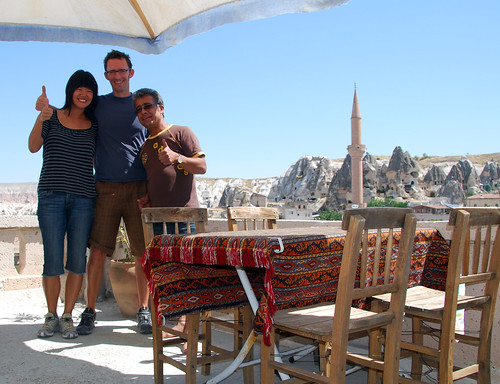 hope, jeremy, and ihsan on the roof of kookaburra pension, cappadocia