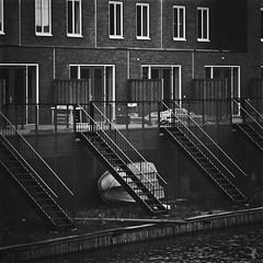 - house - (FRJ photography) Tags: new city bw white black holland brick water netherlands amsterdam stairs eau nb brique et paysbas blanc escalier nouvelle ville barque noire hollande