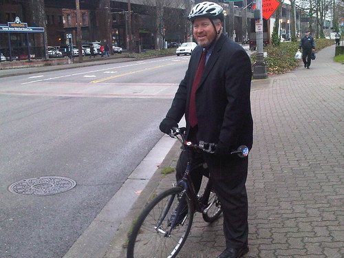 Seattle Mayor Mike McGinn Rides to Press Conferences