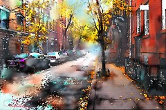 Greenwich Village NY (chrisaqua47) Tags: street red ny newyork tree cars yellow digital jaune automne watercolor rouge aquarelle greenwich automn rue arbre numrique voitures awardtree artofimages exoticimage