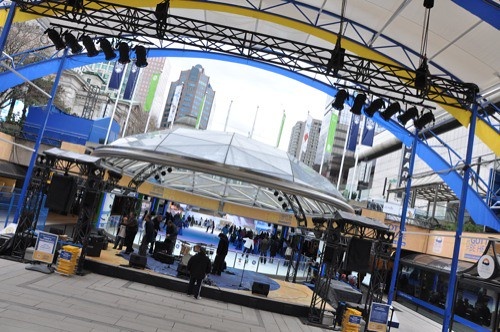 Stage being built at Robson Square