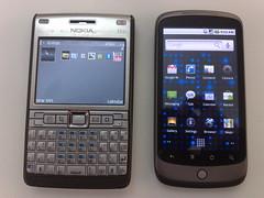 nokia e61i symbian v google nexus android