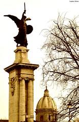 Angoli di Roma - Corners of Rome (Capitan Mirino ( il Tartarughino )) Tags: bridge italy roma church statue sepia ponte chiesa cupola dome statua lazio seppia crazyheart
