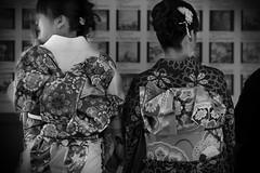 japanese ladies in kimono (pvcpvc) Tags: wedding ladies shadow blackandwhite bw white black flower color colour floral monochrome japan contrast japanese women kyoto pattern sitting dress pair traditional bn fabric sit bridesmaid sakura kimono tradition cloth highlight constrast