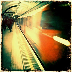 Tube travel. (groberts100) Tags: travel colour london train underground tube tunnel journey commute iphone tfl bestcamera hipstamatic