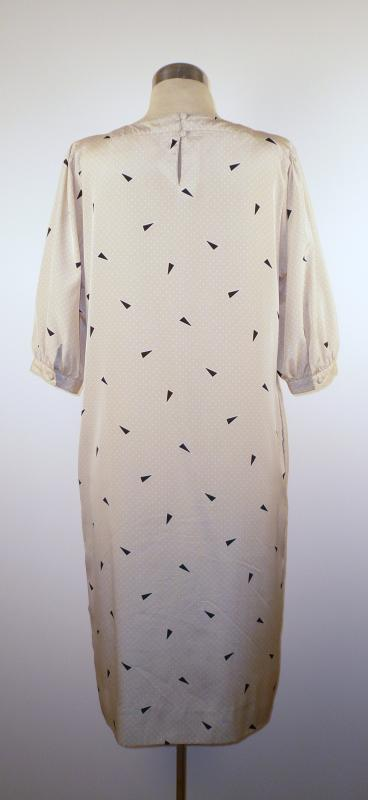 Back - Silky Print Smock Dress with Pleated Front
