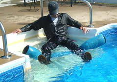 23 LS Ready for mate to join me fully clothed! (Leviswimmerwet) Tags: men wet leather swimming boots clothed guys jeans docm swimmingfullyclothed wetladz wetladzinleather swimmingwetwetlook