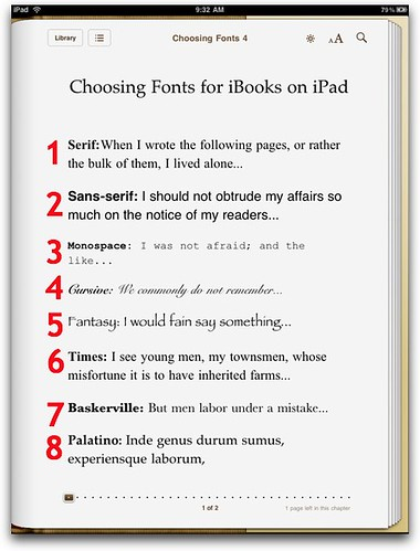 Default Font iBooks on iPad