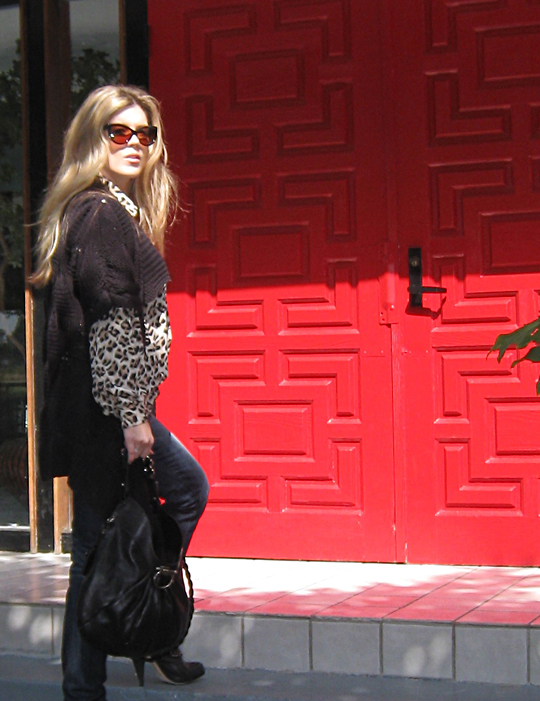 leopard blouse+jeans+boots with chains+red door+shangri-la+sweater -best