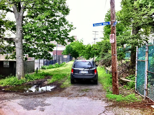 Go ahead. Block the right of way in a no parking zone to avoid getting your SUV dirty. Thanks.