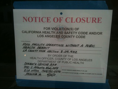 Dorado's Ceviche Bar: Closure Sign