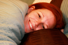 290/365 Picture yourself in a boat on a river... (smug & smarmy) Tags: blue woman brown selfportrait smile comfortable happy cool bed trf redhead covers snug fugger project365 fgr yeahitsfall