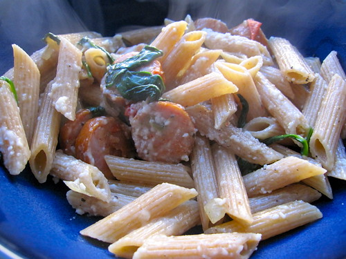 whole wheat penne with hot chicken/turkey sausage, spinach and diced onions