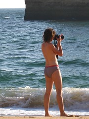 Photographer in pants (terry.1953) Tags: sea woman beach portugal person photographer pants knickers algarve ferragudo platinumheartaward flickraward5