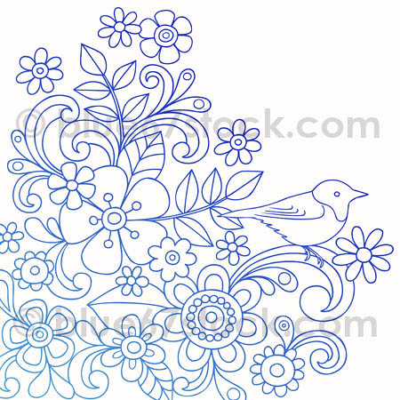 Hand-Drawn Psychedelic Paisley Henna Tattoo Doodle with Flowers and a Bird