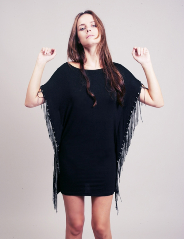 Evil Twin black tee dress with multi chain fringe side seams 2