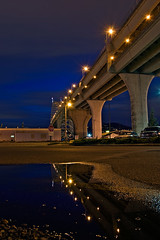 Fremont Puddle (Jon Asay ) Tags: bridge reflection night oregon portland puddle long exposure fremont