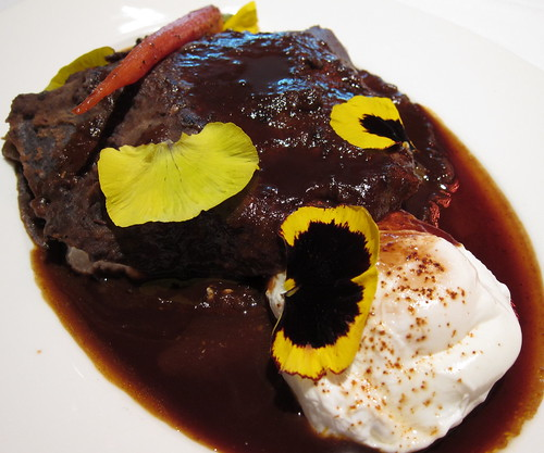 "duck ""enfrijolada"", poached organic egg, rioja wine & cascabel chile sauce"