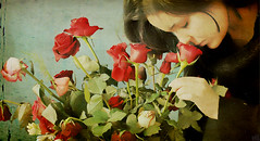 (DeLaRam.) Tags: flower texture girl rose hair edited smell گل رز خوش explored darkredrose بوی بويخوشيار