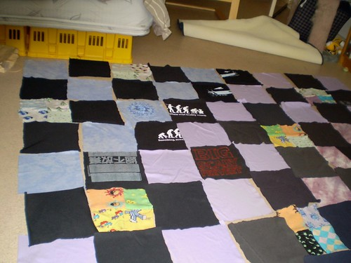 Laying out the T-shirt Quilt 1