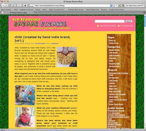 Bazaar Bizarre blog interview