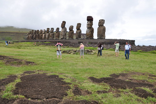 tourists, Moai, Ahu Tongariki, Easter Island
