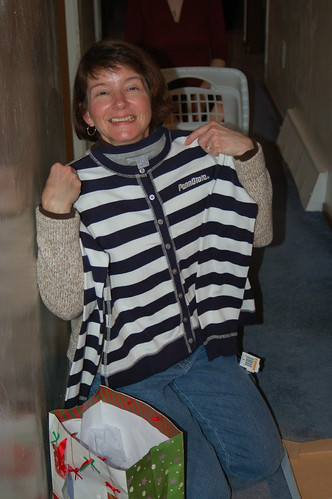 Linda and her cardigan.