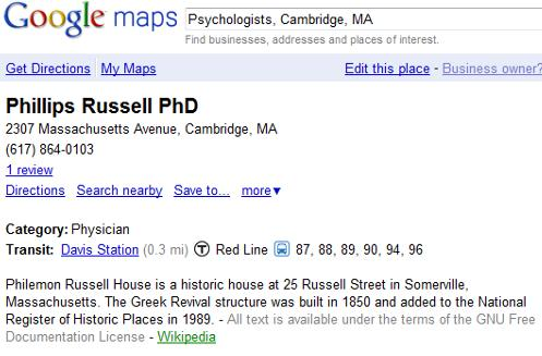 Phillips Russell PhD Place Page