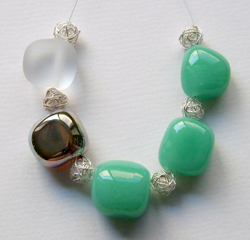 Green glass beads called Glamour